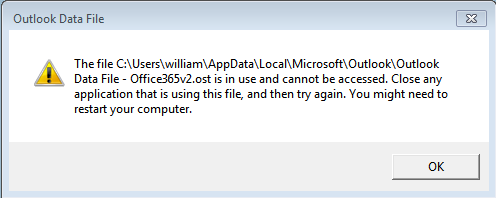 outlook ost file is in use and can not be accessed error screen