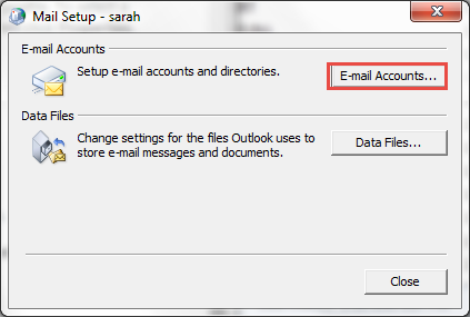 Email Accounts option